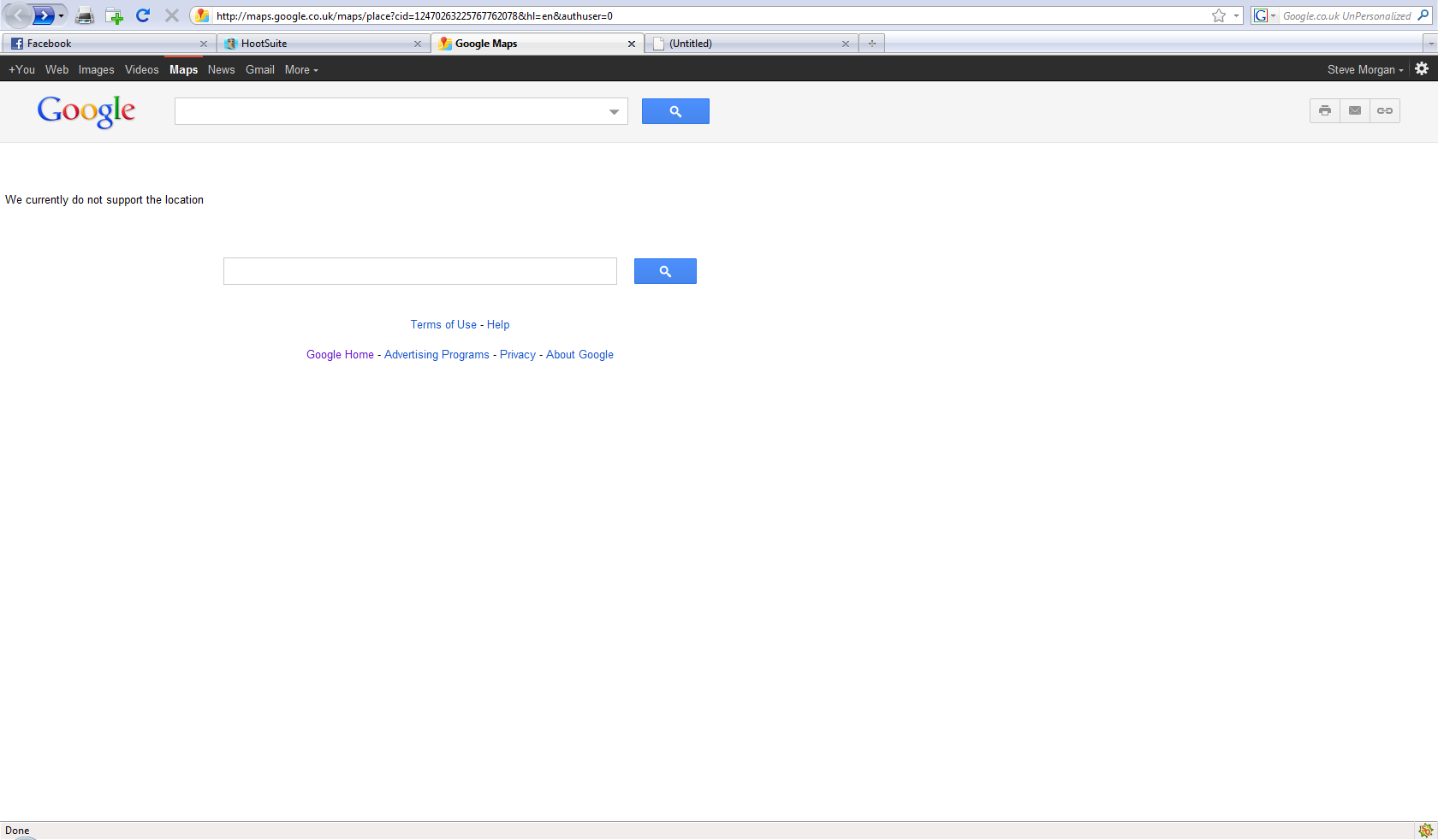 Screenshot of Google Places 404