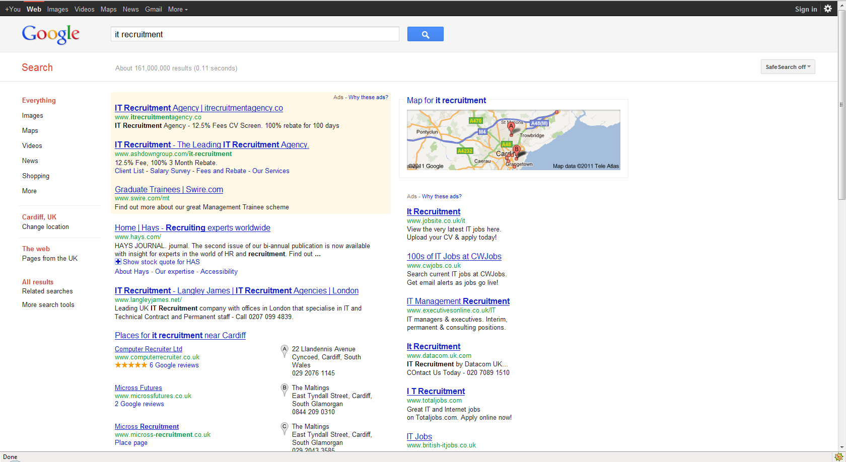 Example of Google Places changes in the SERPs